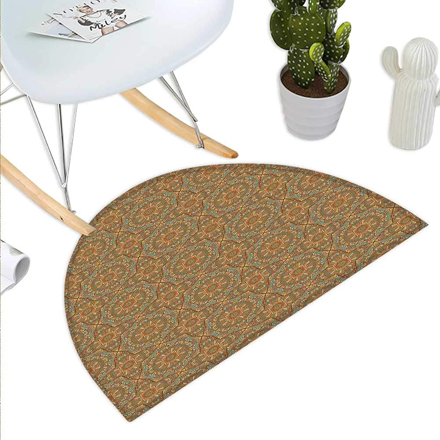 Traditional Semicircle Doormat Bohemian Mgoldccan Star with Ornamental Scroll Lines Curves Vintage Illustration Halfmoon doormats H 51.1  xD 76.7  Multicolor