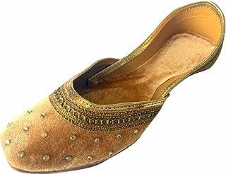 Women Flat Velvet Khussa Shoes Punjabi Jutti Traditional Mojari Loafer Pumps