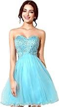 Sarahbridal Women's Tulle Sequin Short Homecoming Dress Prom Gown