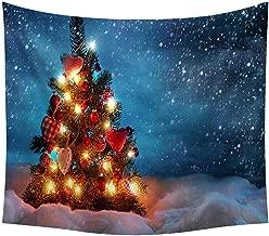 iZHH Holiday Tapestry Merry Christmas Tapestry Santa Reindeer Xmas Tree Gift Rabbit Wall Hanging Art for Blanket Home Headboard Bedroom Living Room Dorm Festival Decor