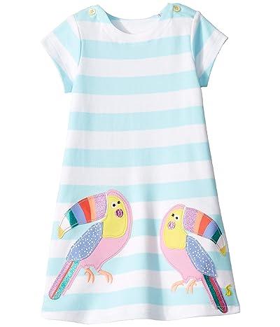 Joules Kids Kaye Short Sleeve Dress (Toddler/Little Kids) (Aqua Stripe Toucan) Girl