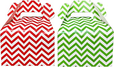 Outside the Box Papers Christmas Treat Boxes - Red and Green Chevron - Gable Favor Boxes- 24 Count