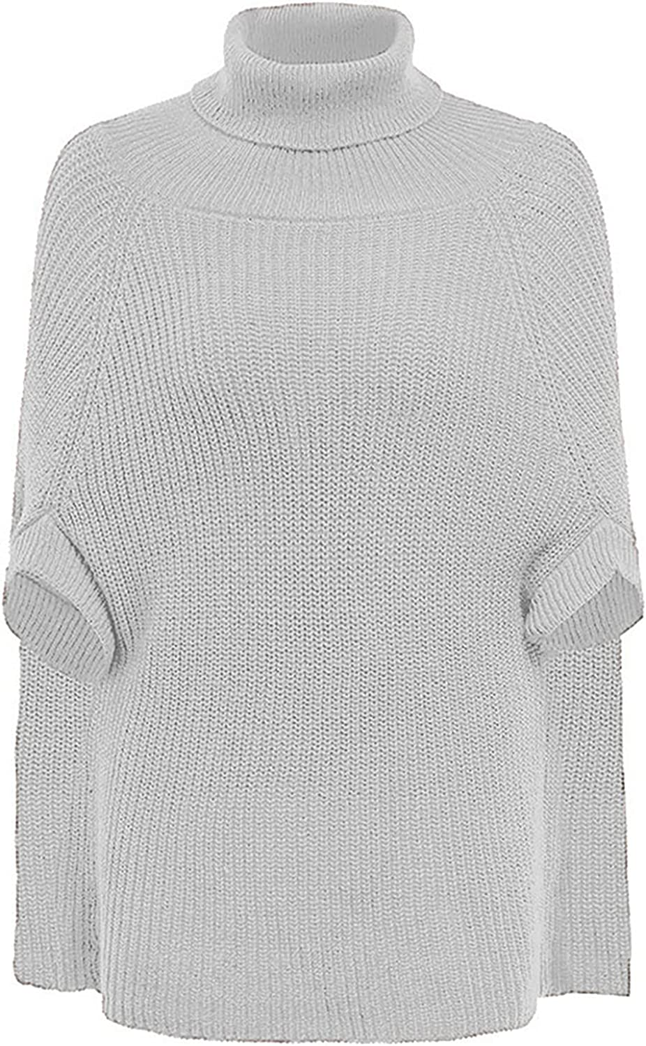 VonVonCo Fashion Pullover Sweaters for Women Casual Pure Long Sleeve Turtleneck Knitted Half Sleeve Pullover Sweater Top