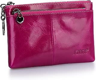 S-ZONE Women Genuine Leather Triple Zipper Small Wallet Change Coin Purse Holder