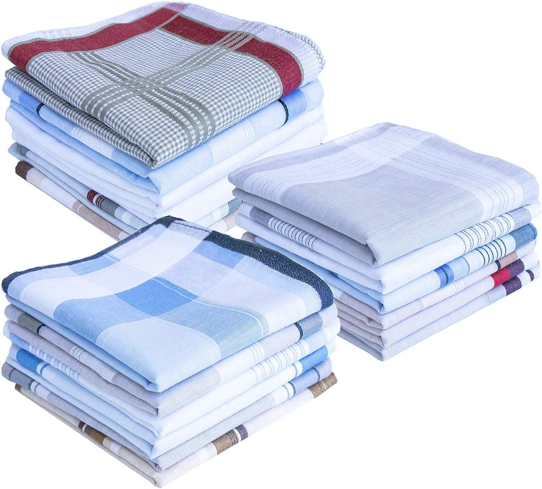 USM Mens Classic Woven Cotton Hankies Philadelphia Mall Handkerchiefs Pack Striped Inexpensive