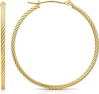 Best 14k gold twisted hoop earrings Reviews