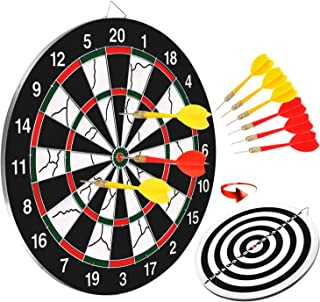 BATTOP Double-Sided Dart Board for Kids w/ 6 Steel Tip Darts,Excellent Indoor Outdoor Darts Game and Party Games for Teenage Boys Toy Gift & Adults Family Time Leisure Sport