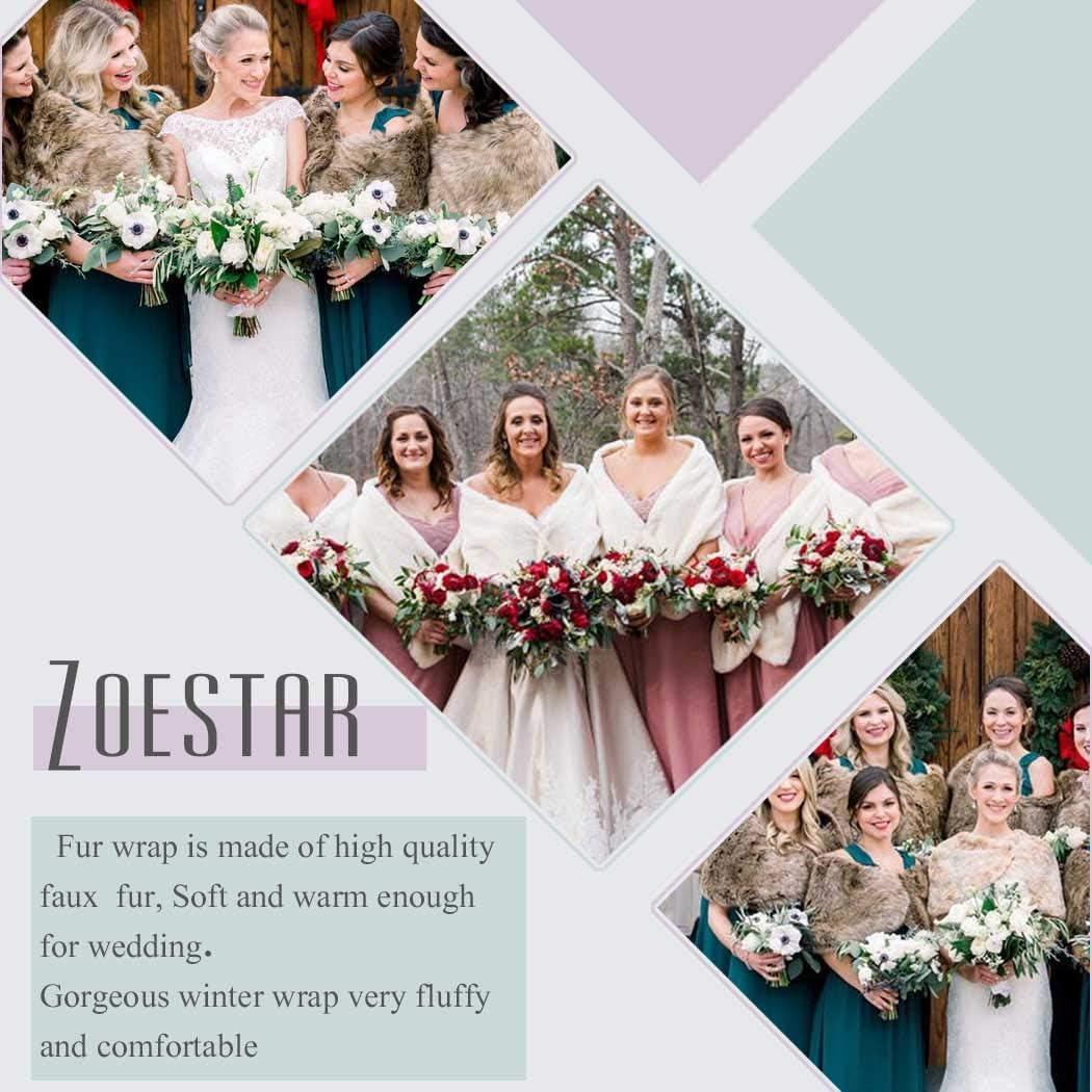 Buy Zoestar Women's Faux Fur Shawls and Wraps Wedding Fur Stole ...