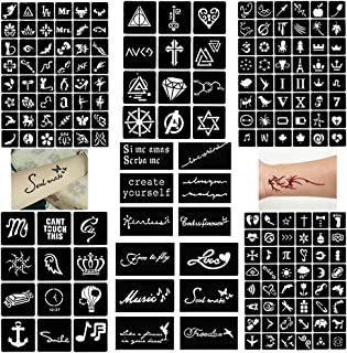 Stencil for Glitter Henna Tattoos (7 Sheet) Temporary Tattoos Templates Set,Indian Arabian Tattoo Reusable Stickers Stencils Body Art Designs for Henna Hands,Arm and Face