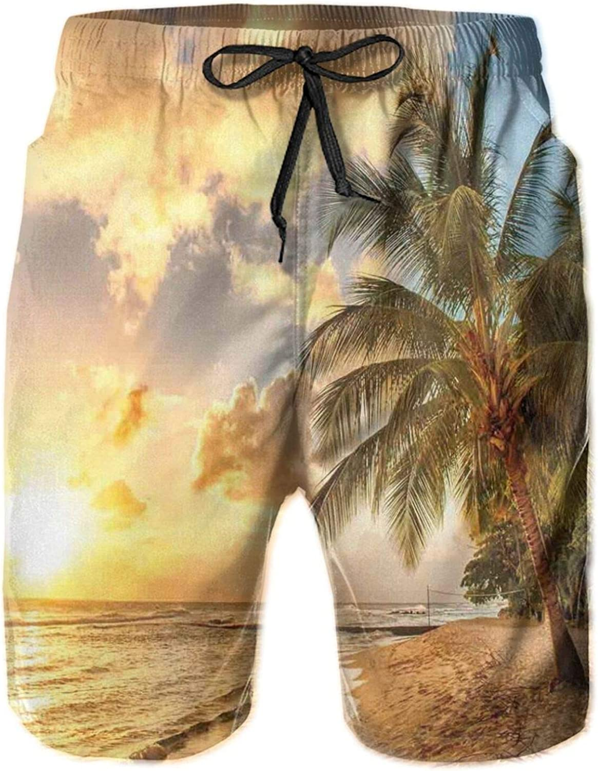 Tropic Sandy Beach with Horizon at The Sunset and Coconut Palm Trees Summer Photo Mens Swim Shorts Casual Workout Short Pants Drawstring Beach Shorts,XXL