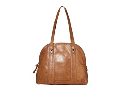 Frye Melissa Domed Zip Satchel (Beige) Handbags