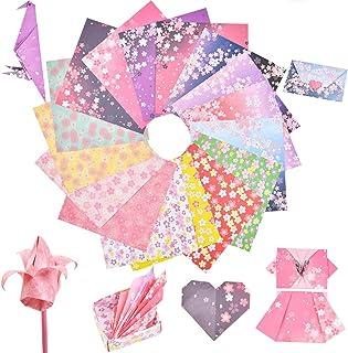 TIMESETL 折り紙 千代紙 和風 花柄 15cm×15cm角 220枚入 両面おりがみ 知育 図工 大量