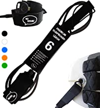 Ho Stevie! Premium Surf Leash [1 Year Warranty] Maximum Strength, Lightweight, Kink-Free, for All Types of Surfboards. 7mm Thick (1/4