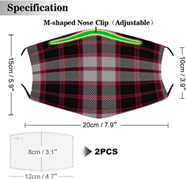 OMOXILOUY Scottish Clan Macpherson Tartan Plaid Adult Cloth face mask Wear Filter Dust Mask Outdoor Face Mask Dust Cover Can