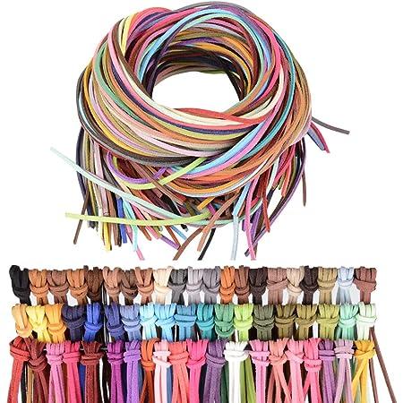 50 Metri 10 Colori Corda in Pelle per Collane Cordoncino Cordino Cordono in Cuoio 3mm/×5m 100 Terminali 100 Perline di Legno Collane Braccialetto Gioielli Bracciale Perline