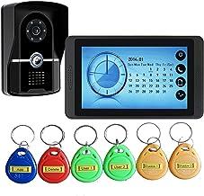 Videodeurbel, Intercom, Bekabelde 7-Inch Videodeurtelefoon Voor Huisbeveiliging, Touchscreenmonitor + IR-Nachtzichtcamera...