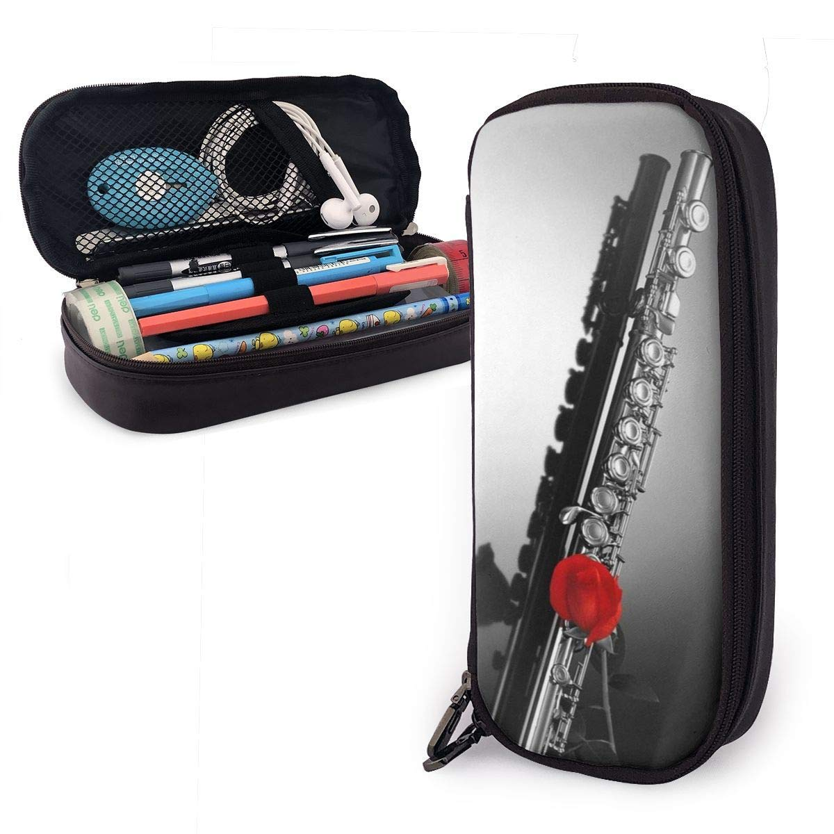 Estuche de lápices de flauta - Organizador de papelería de cuero de PU de gran capacidad: Amazon.es: Oficina y papelería