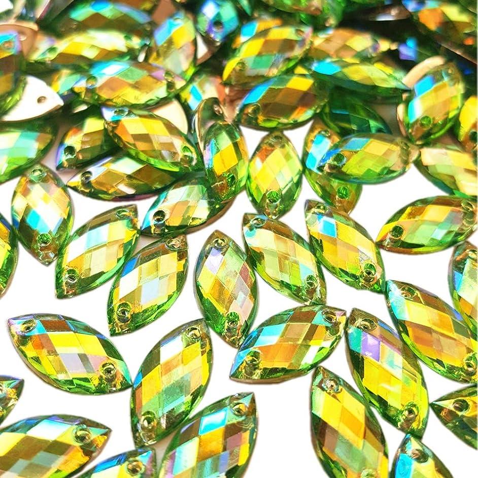 Big Sale 100pcs 7x15mm Horse Eye Shape Crystal AB Color Clear Sew On Acrylic Rhinestones Flatback Fancy Stones Sewing for Clothing Wedding Dress Decorations (Green)
