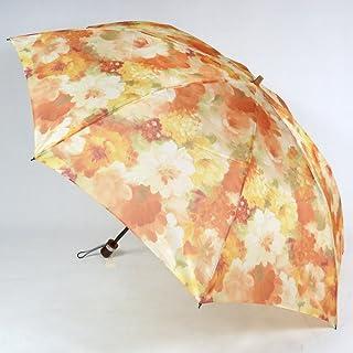 レディース雨傘 折傘 2段式 オーガンジーアンブレラ 「マスターフラワー」 花柄 軽量 おしゃれ 雨晴兼用雨傘 uvカット加工 折りたたみ傘 日本製 エイト 26059 オレンジ/イエロー