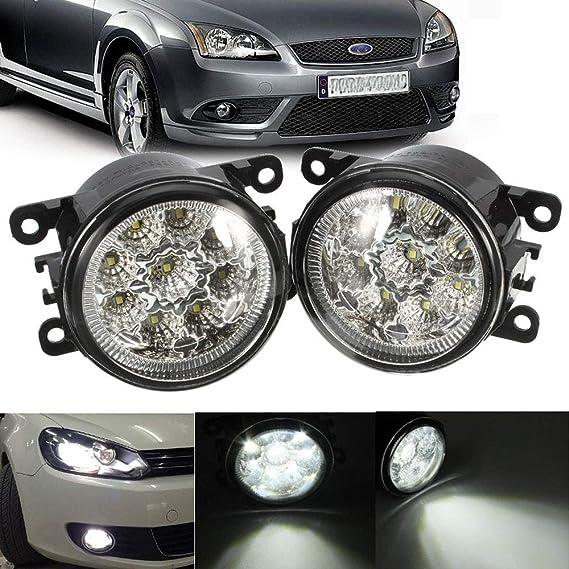 Iiwoj Auto Frontstoßstange Nebelscheinwerfer 2x Led Nebel Lampe Kompatibel Mit Ford Focus Mitsubishi Grandis H Onda Subaru 2 Pcs Sport Freizeit