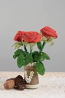 Handmade Beaded Interior Decor Glass Vase With Flowers Decorative Bouquet