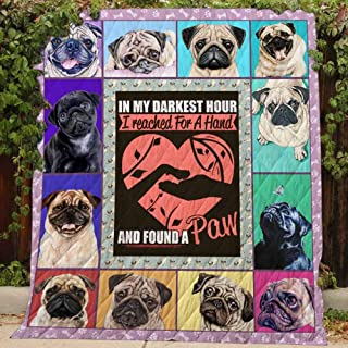 Pug Lovers - Quilt, Queen All-Season Quilts Comforters with Reversible Cotton King/Queen/Twin Size - Best Decorative Quilts-Unique Quilted for Gifts