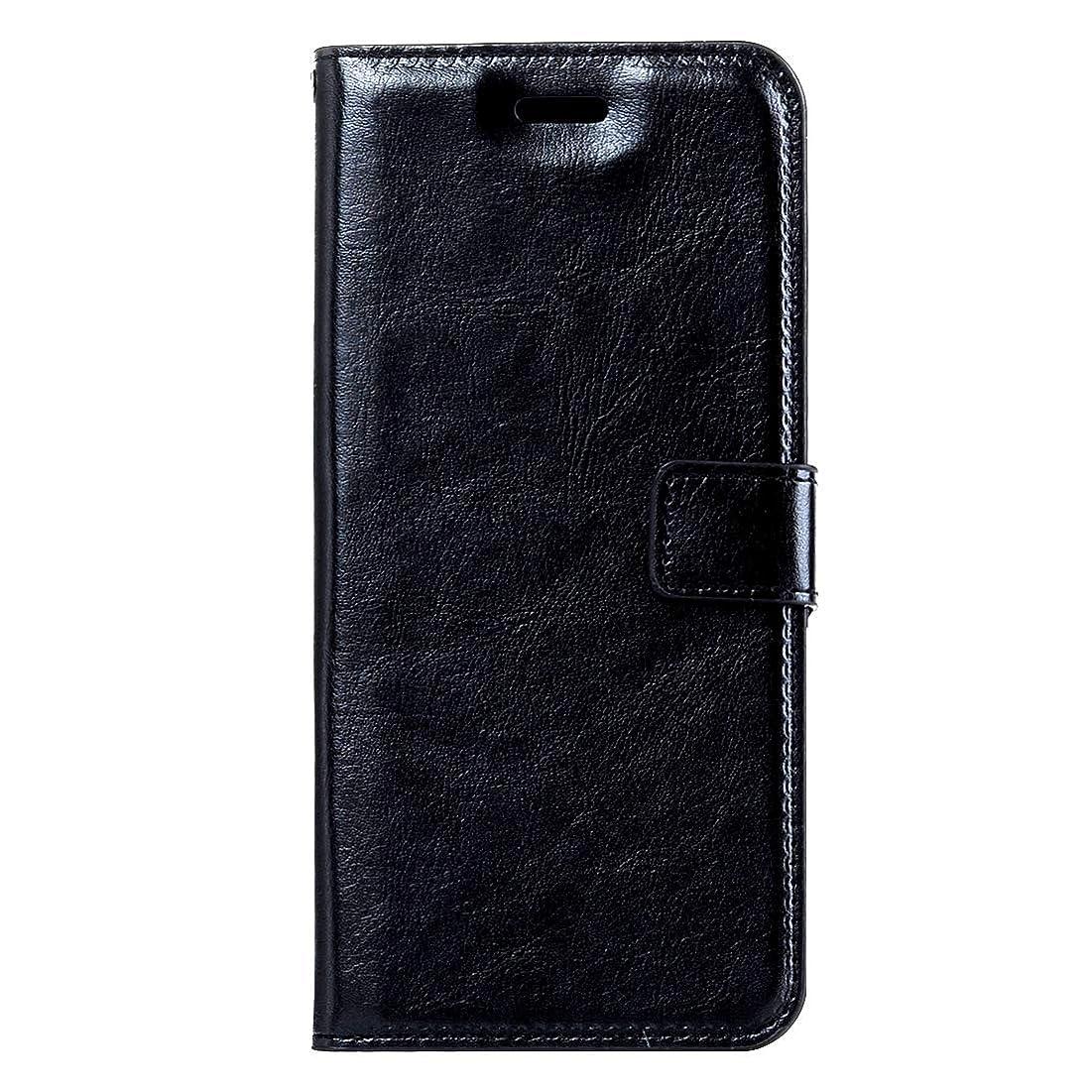 カップ時間ダンプLG K10クレイジーホーステクスチャ用磁気バックル、ホルダー、カードスロット、ウォレット、フォトフレーム付きブラックフリップレザーケース(ブラック) Yikaja (色 : Black)