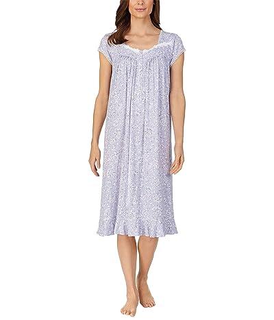 Eileen West Cap Sleeve Waltz Nightgown (Grey Floral) Women