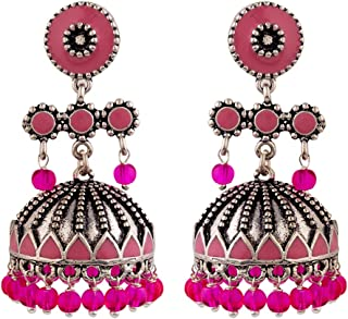 Voylla Rangabati Pink Beads Earrings Jewellery For Women