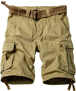 MUST WAY Men's Multi Pocket Loose Fit Twill Cargo Shorts