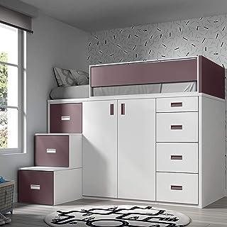 Meubles ROS Lit Mezzanine avec Armoire et tiroirs -165x204x165 cm (Blanc/Mûre, Échelle à la Gauche)