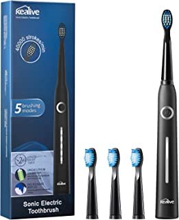Electric Toothbrush Rechargeable, Kealive Ultra Whitening Sonic Toothbrush with 5 Optional Modes, 2 Mins Smart Timer, 40,000 VPM Motor, USB Fast Charging Power Toothbrush with 3 W Replacement Heads