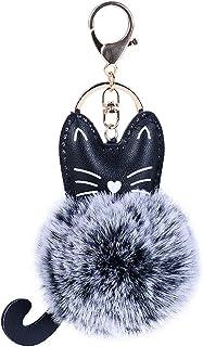 キーホルダー かわいい Plojuxi ぬいぐるみ 猫 動物 ふわふわ ファーチャーム ピンク 人気 バッグチャーム キツネファー バッグ チャーム ボールファー高級感 キーホルダー レディース キーチェーン 携帯ストラップ かばん アクセサリー プレゼント