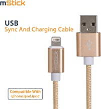mStick Charge & Sync Fast Charging Cable Compatible for iPhone, iPad, and iPod - 3 feet (0.9 Meters) - Gold