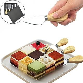 FineInno Cuchillo de Queso Set de 4 con Caja de Regalo, Mango de Madera con Hoja de Acero Inoxidable (1 Set)