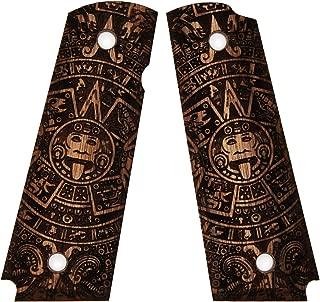 DURAGRIPS - Full Size 1911 Custom Engrave Walnut Wood Grips - Aztec Calendar
