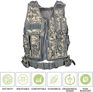Folgtek Hunting Vest Tactical Training Vest, Anti-Airsoft Paintball Vest with Multiple Organize Pockets & Detachable Utility Belt, Adjustable Lightweight Vest for Hunting Fishing Combat CS Field