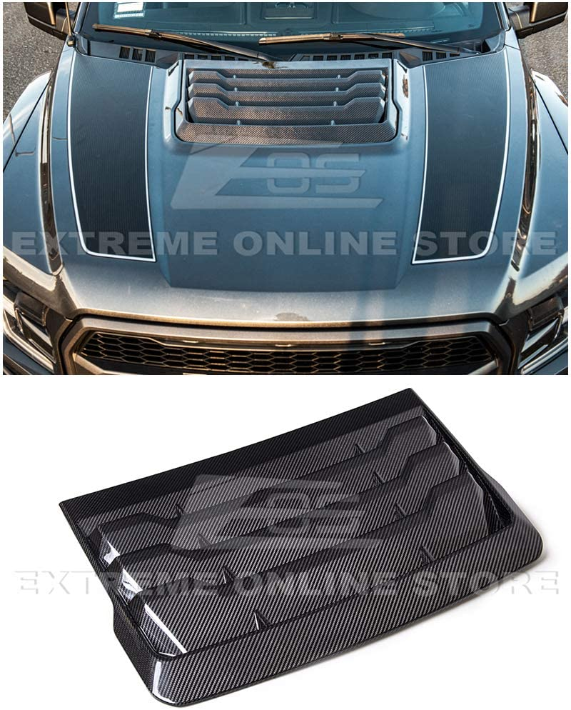 Extreme Online Store Replacement for 2017-Present Ford F-150 Raptor Models   Factory Style Carbon Fiber Front Hood Vent Louver Cover VENT-327-BKCF