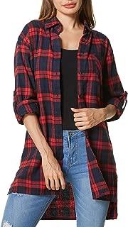 Zanzea Street Fashion Flannel Plaid Shirt Buffalo for Women Button Down Long Sleeve Tops Blouses Grunge Collar with Pocket