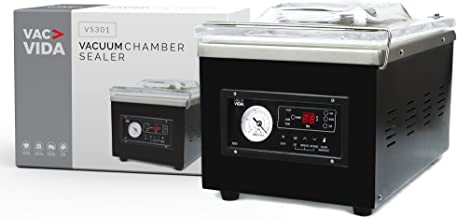 VAC-VIDA VS301 Chamber Vacuum Sealer | Constructed With A Sleek Black Stainless Steel Outside | Modern Control Panel | Extra Powerful Oil Pump | Perfect For Serious Home User Or Restaurant