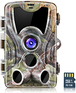 Crenova 20MP Hunting Trail Camera 32GB Micro Card Included Max up to 64GB Updated to 940nm IR LEDs and IP 66 Waterproof Game Camera 1080 P Motion Activated Night Vision Wildlife Cameras (Camouflage)