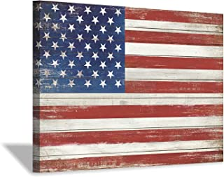 American Flag Canvas Wall Art: USA Flag on Wood Texture Background Picture Painting Artwork for Living Room Office (36'' x 24'')