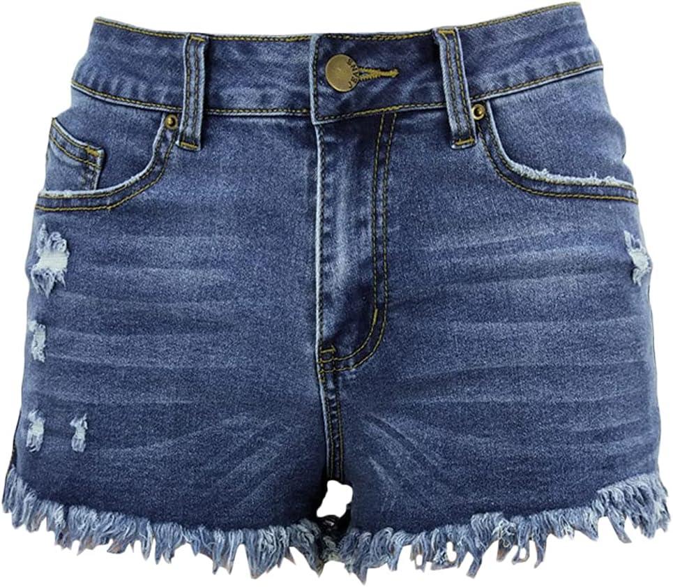 Women's Fringed Denim Shorts Ripped Raw Reservation Hem Hi Short mart Frayed Jean