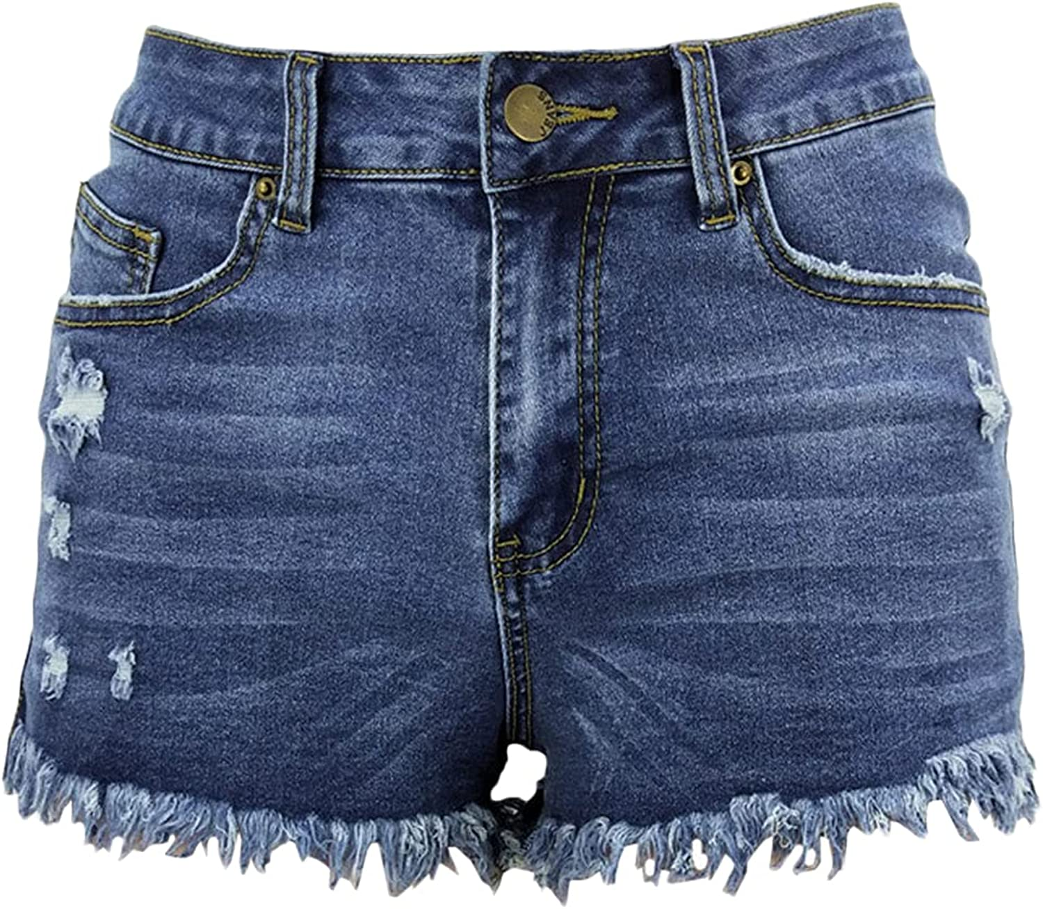 Women's Ripped Fringed Casual Denim Shorts Distressed High Waisted Stretchy Jean Short-pant Fashion Raw Hem Jeans Short