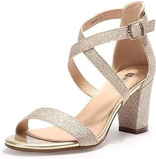 Women's IN3 Grace Strappy Chunky Block Heels Open Toe Crisscross Ankle Strap Heeled Sandals