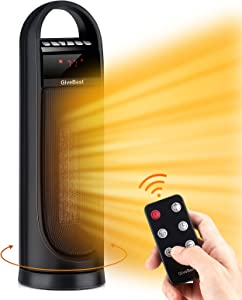 """22"""" Tower Space Heater, 1500W/900W Ceramic Quiet Room Heater with Remote Control, Oscillation, Thermostat, Overheat & Tip-Over Protection, Digital Rotating Heater for Room Home Office"""