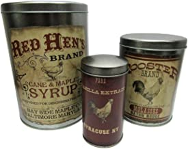 Ohio Wholesale Decorative Rooster Advertising Tins Set of 3 Food Storage Canisters