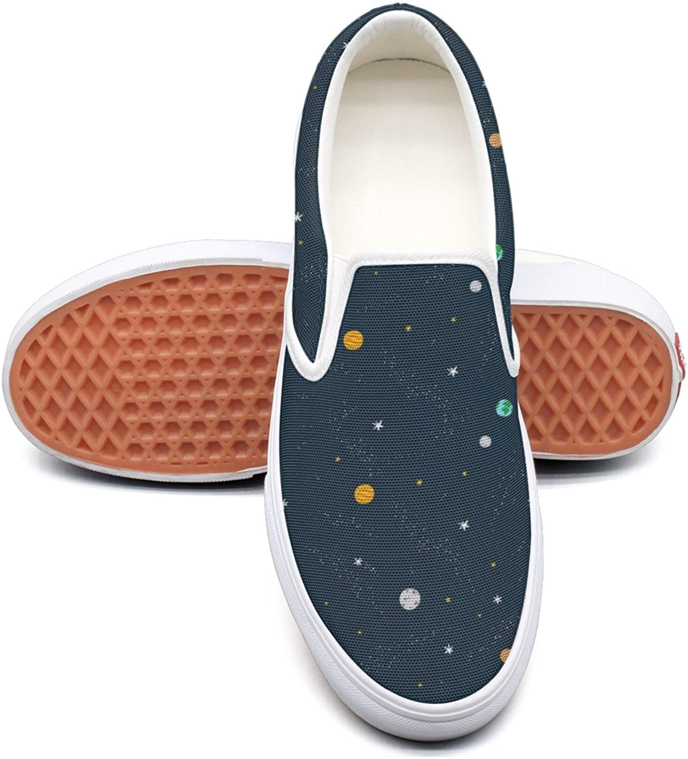 RegiDreae Canvas Slip On Sneakers for Women Planets in Space Solar System Fashion Sneaker
