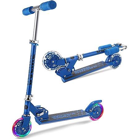 WeSkate Patinete 2 Led Ruedas para 4 a 12 Años Patinete Ajustable, Diseño Plegable, Manillar Ajustable, Carga Máxima de 110lbs