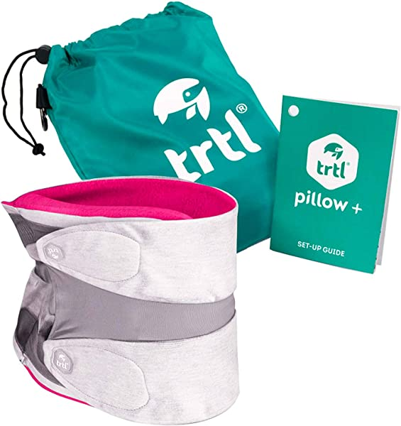 Trtl Pillow Plus Travel Pillow Fully Adjustable Neck Pillow For Airplane Travel Car Bus And Rail Pink Includes Water Proof Carry Bag And Setup Guide Travel Accessories